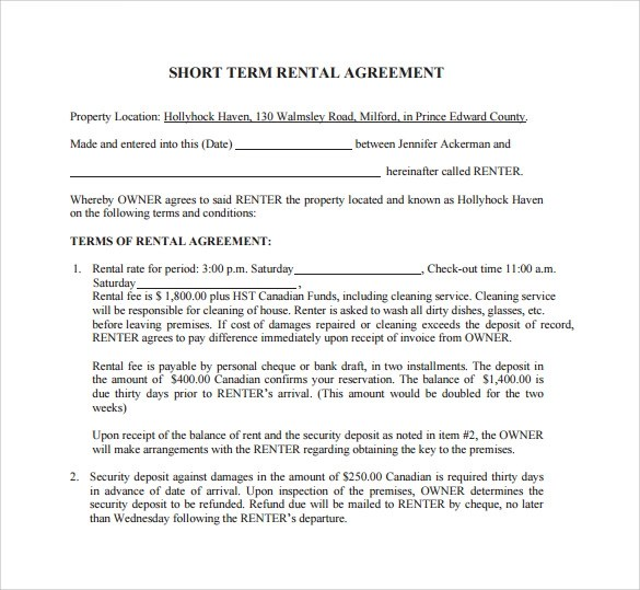 short term rental agreement - Onwebioinnovate - Sample Short Term Rental Agreement