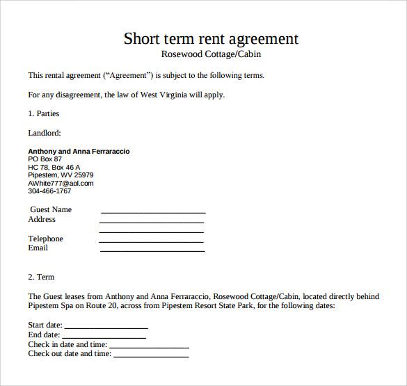 Free Rental Agreements madebyrichard - short term rental contract form