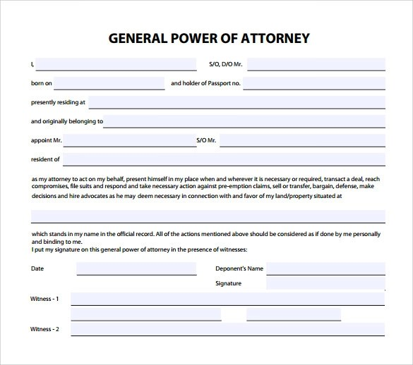 7 General Power of Attorney Form Download for Free Sample Templates - simple power of attorney form example