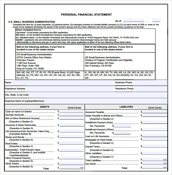 Business Financial Statement Form Pdf  Best Free Resume Builder Mac