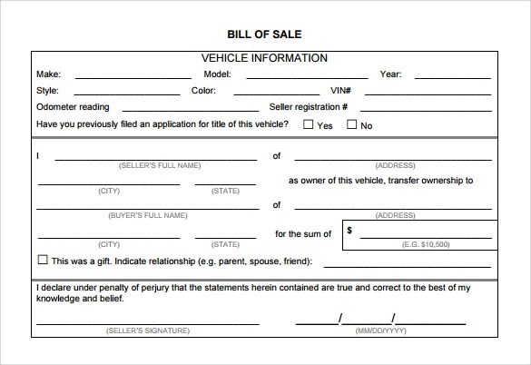 Auto Bill of Sale Template - 7+ Download Free Documents In PDF