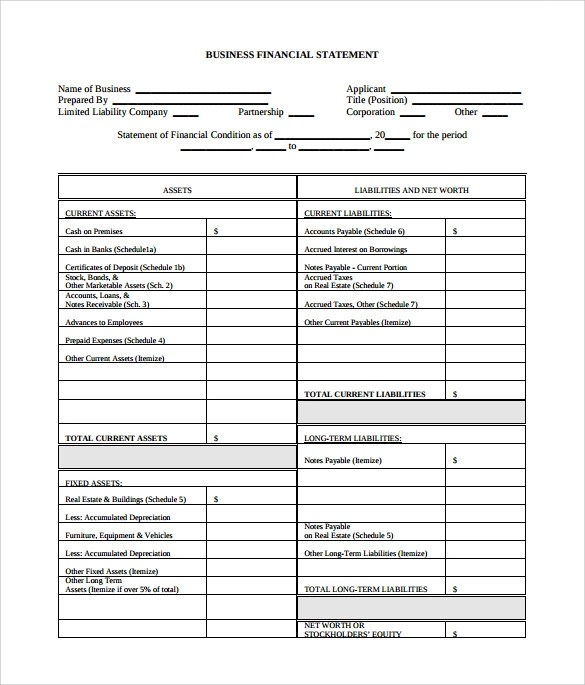 financial statement forms templates - 28 images - download blank