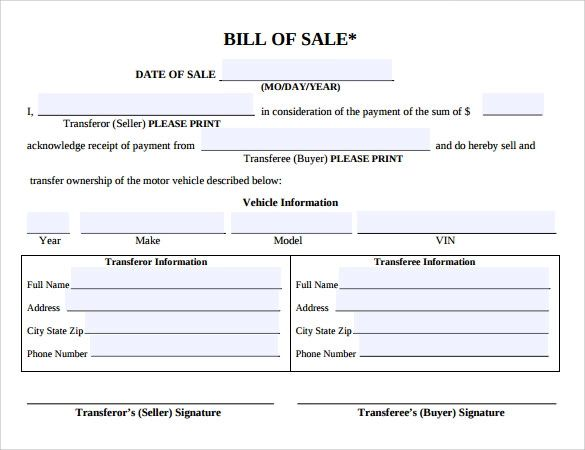 bill of sale example for car