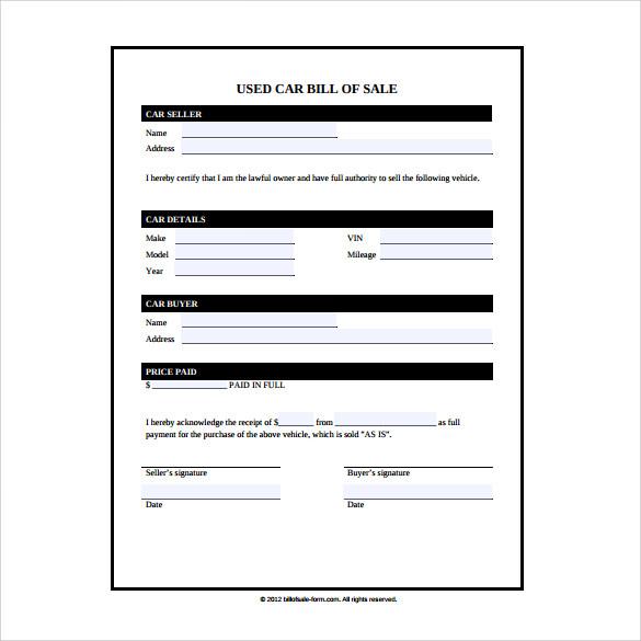 sample bill of sale used car - Alannoscrapleftbehind