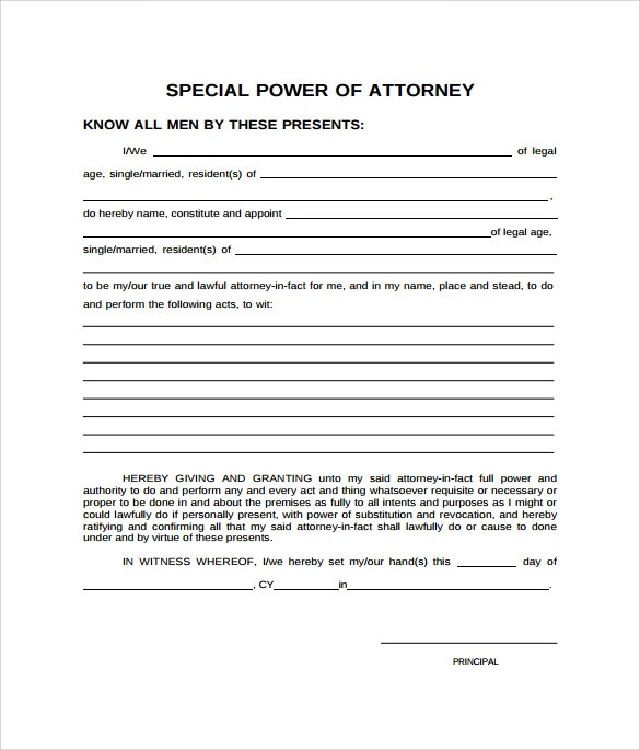 9 Special Power of Attorney Forms to Download Sample Templates