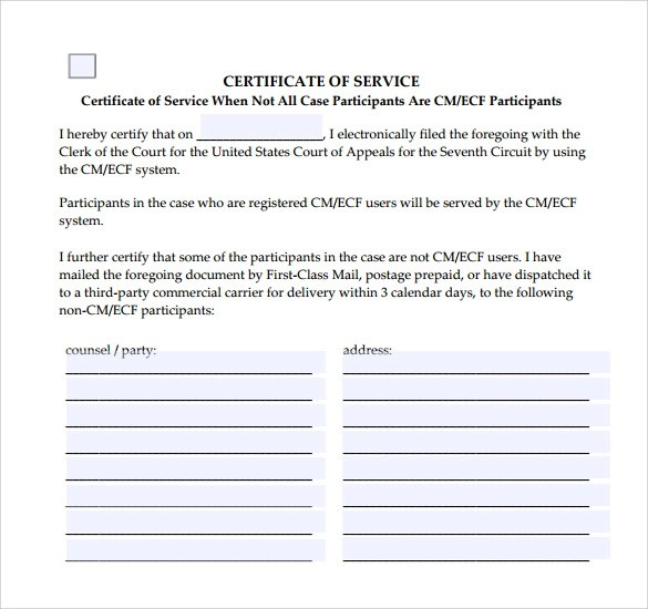 10 Certificate of Service Templates to Download for Free Sample - Example Of Certificate Of Service