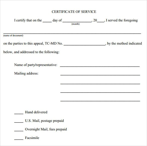 10 Certificate of Service Templates to Download for Free Sample - sample certificate of service template