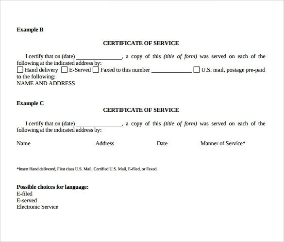 Certificate Of Service Template Free - Costumepartyrun - Example Of Certificate Of Service
