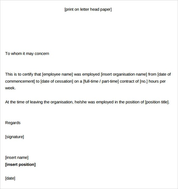 Employment Certificate Template Experience Certificate Templates - certification of employment sample