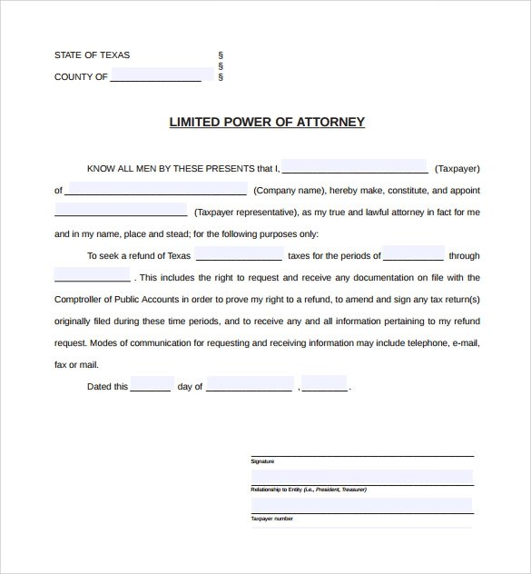 9+ Sample Limited Power of Attorney Forms Sample Templates