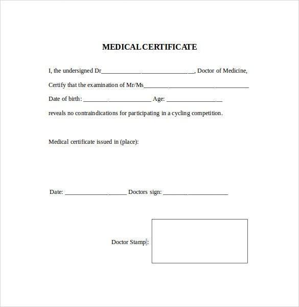Medical Certificate - 9+ Download Free Documents In PDF, Word - awards template word
