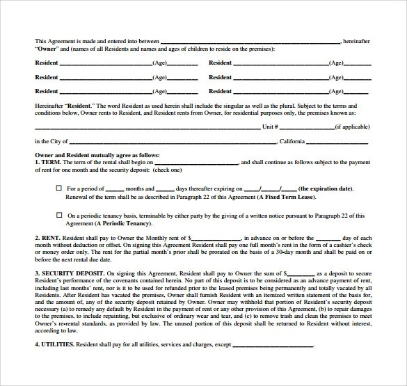 9 Sample Monthly Rental Agreement Templetes to Download Sample - Sample Monthly Rental Agreement
