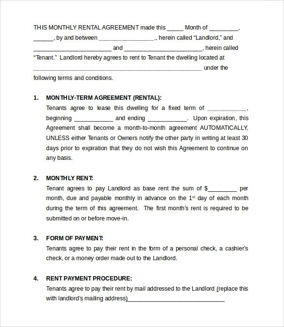 month rental agreement template - simple rental agreements