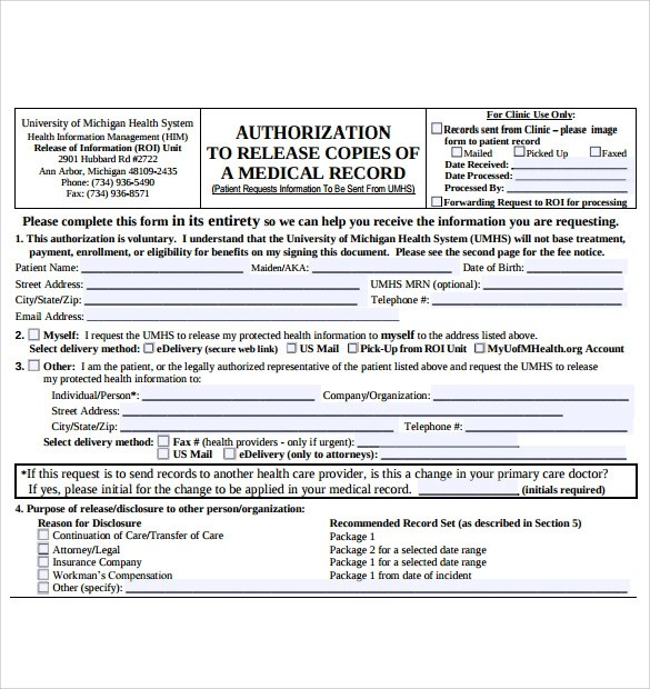 7 Medical Records Request Forms Download for free Sample Templates
