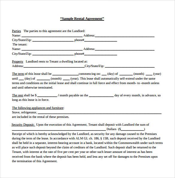 Sample Generic Rental Agreement - 6+ Free Documents in PDF, Word