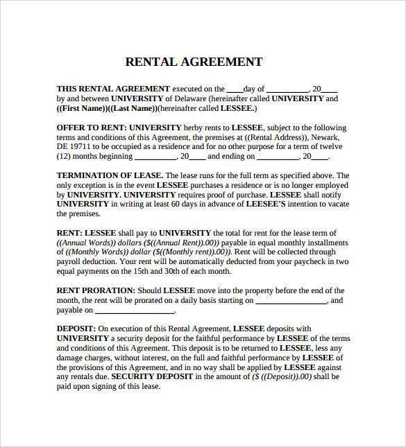 Rental Agreement Rental Agreement Template u2013 Microsoft Word - sample generic rental agreement