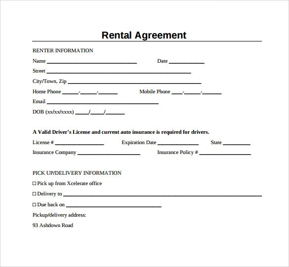 Free Rental Agreement Sample Form | Create Professional Resumes