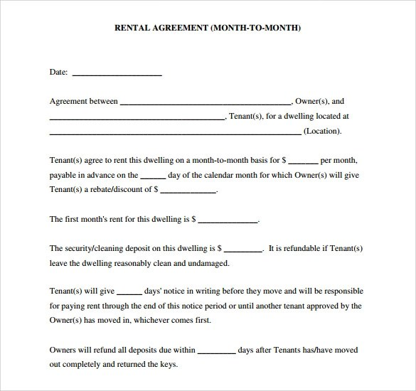9 Blank Rental Agreements to Download for Free Sample Templates