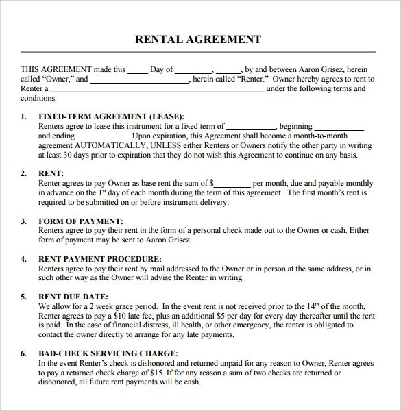 9 Blank Rental Agreements to Download for Free Sample Templates - free lease agreement template