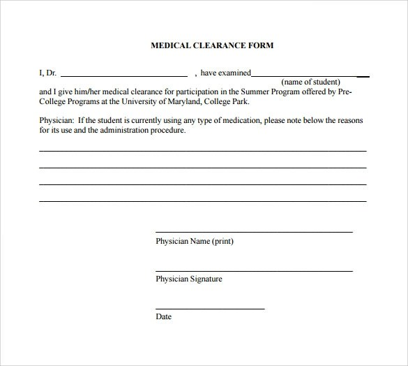Sample Medical Clearance Form - 8+ Download Free Documents In PDF, Word