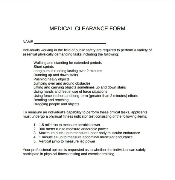 Medical Release Form Little League Baseball And Softball Sample Medical Clearance Form 8 Download Free Documents