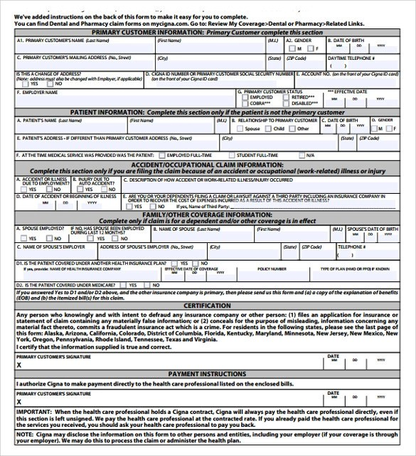 7 Medical Claim Forms Download for free Sample Templates - claim form in pdf
