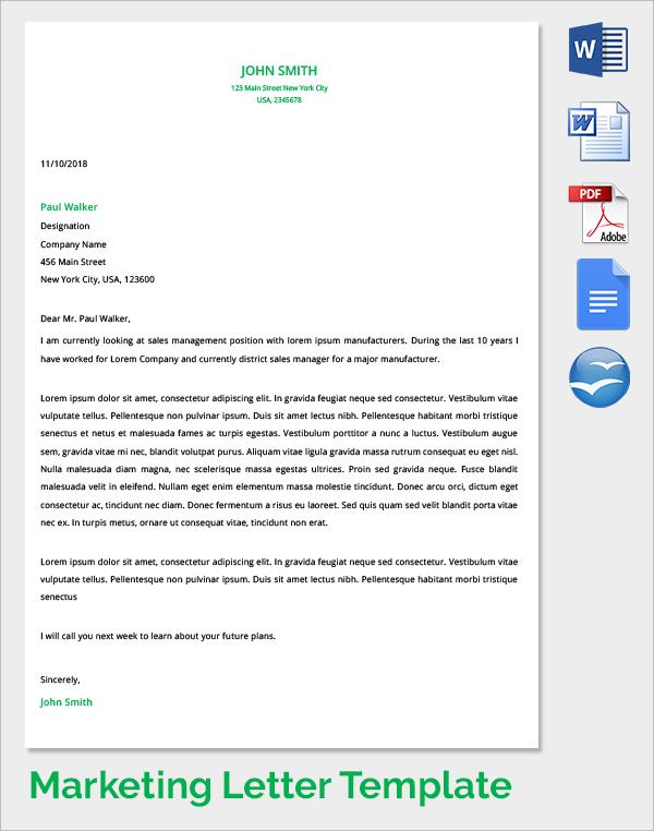Sample Promotion Letter Free Sample Letters Marketing Cover Letter 7 Samples Examples Format