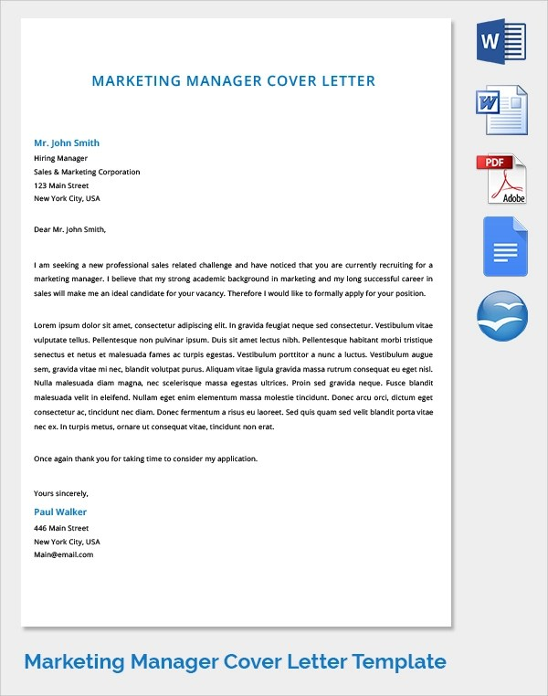 Marketing Cover Letter - 7 + Samples , Examples , Format - marketing cover letter