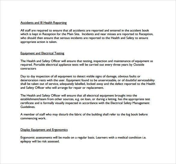 Health And Safety Policy oakandale - sample health and safety policy