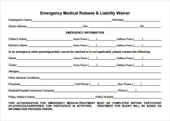10 Medical Waiver Forms to Download Sample Templates - legal liability waiver form