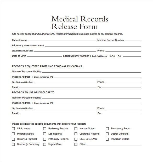 Generic Release Form Medical Records Release Form Example Sample - generic photo release form