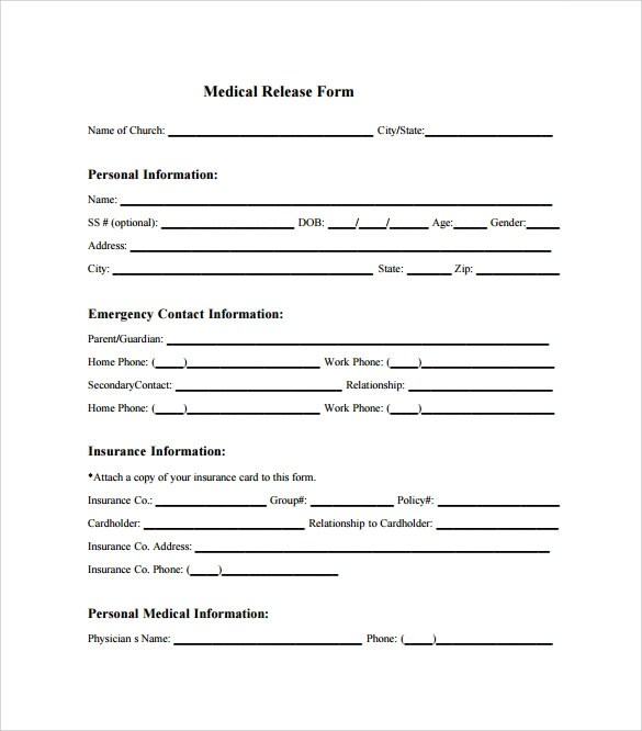 Medical Release Form Youth Trip  Nys Workers Compensation Mg Form