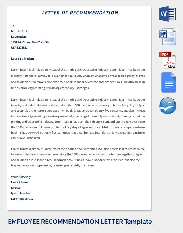 Sample Recommendation Letter Formats - 15+ Download Documents in - example reference letter for employee