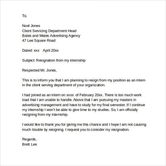 Internship Resignation Letter Of Application For Internship Example