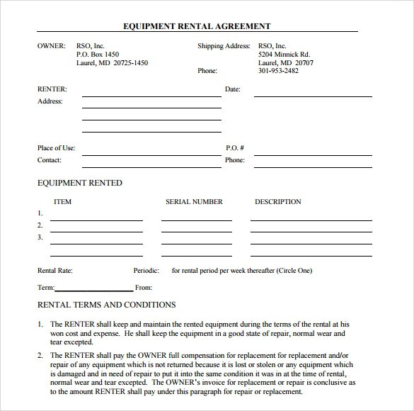 equipment rental contract template - Kordurmoorddiner - rental contract agreement