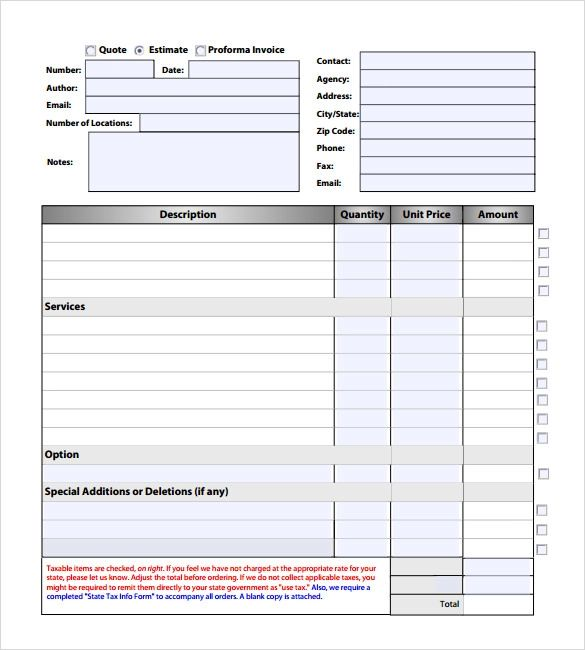 free roofing estimate forms printable