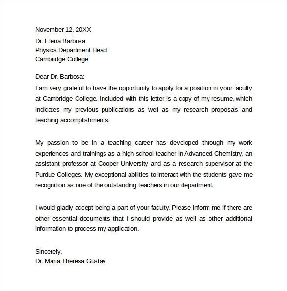 job cover letter template free