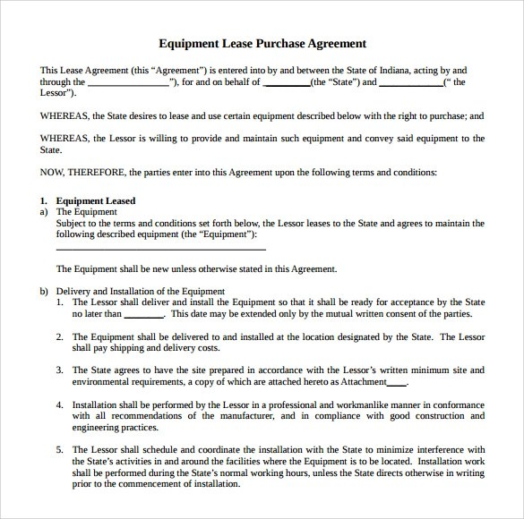 Equipment Rental Agreement Lease – Equipment Rental Agreement