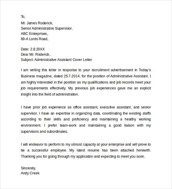 how to write a cover letter for administrative assistant position