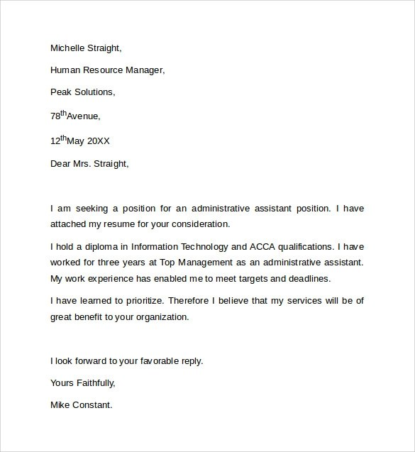 cover letter example for administrative position - Doritmercatodos - cover letter examples for executive assistant