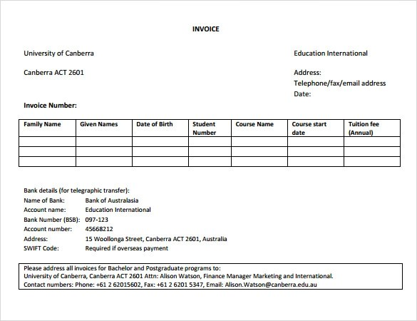 8+ Education Invoice Templates Sample Templates - examples of invoices templates