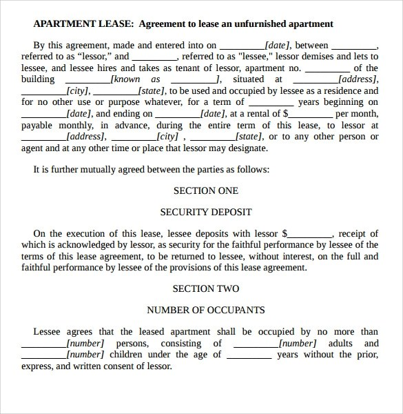 7+ Apartment Rental Agreement Templates Sample Templates - lease agreement template word