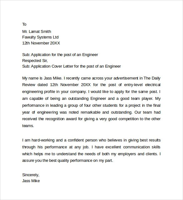 9+ Application Cover Letter Templates Sample Templates - application cover letter