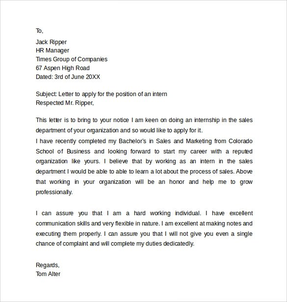 Sample Application Cover Letter Templates - 8+ Free Documents in