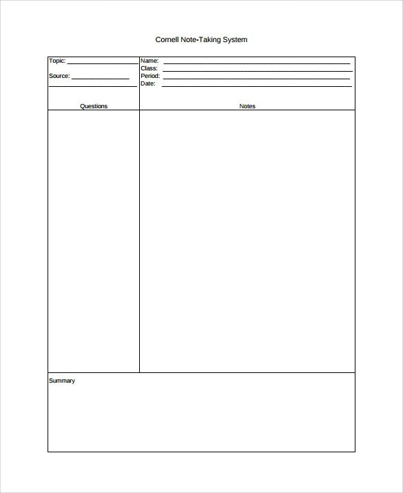 9+ Cornell Note Taking Templates Sample Templates