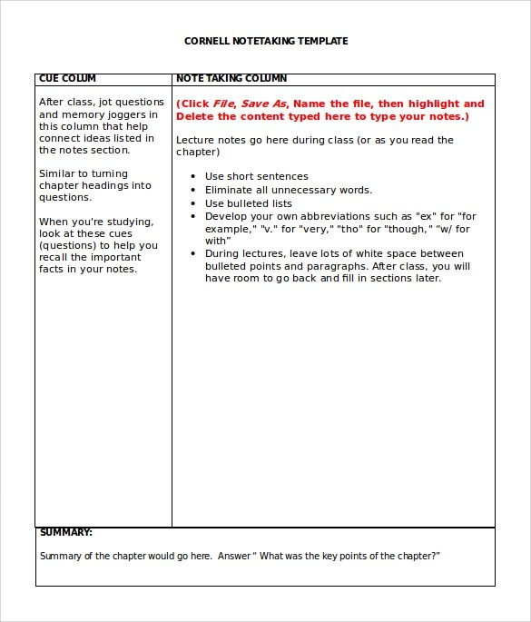 Sample Cornell Note Taking Template - 8+ Free Documents In PDF, Word