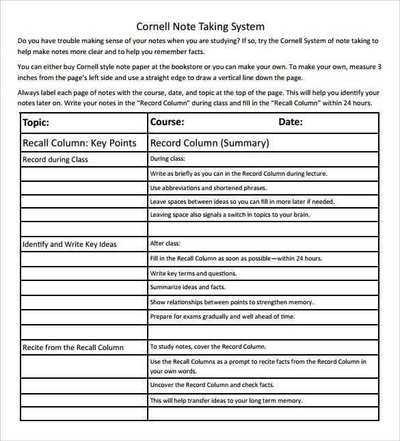 9+ Cornell Note Taking Templates Sample Templates - Sample Cornell Note