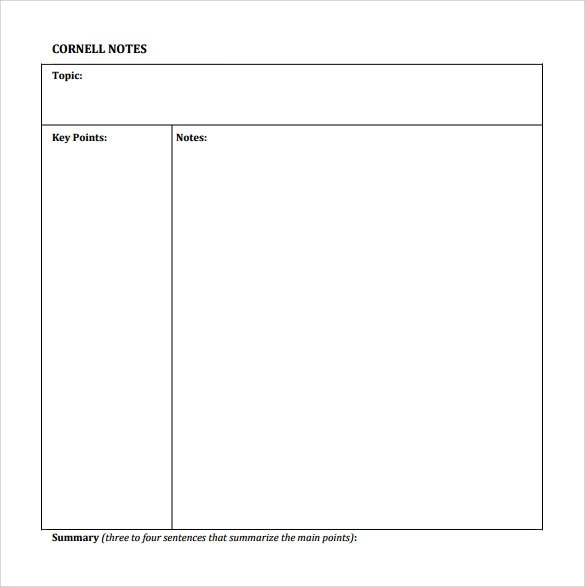 8+ Cornell Notes Paper Templates Sample Templates - Note Template