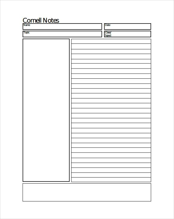 8+ Cornell Notes Paper Templates Sample Templates