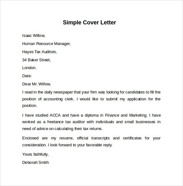 8 Sample Cover Letter Templates to Download Sample Templates